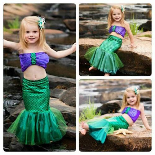 Kid Girls Mermaid Set Dress Party Outfits
