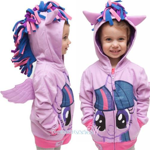 Kid Girls Hoodies Dressy Cartoon My Little Pony Sweatshirt Sweater Jacket Coat