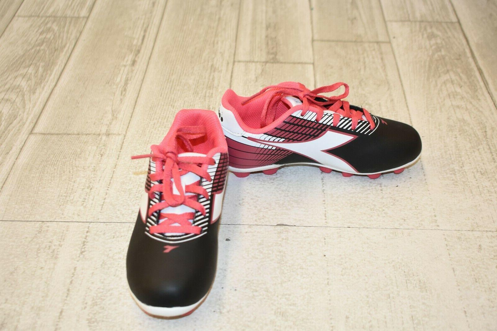 fa5371bc **Diadora Kids Ladro MD JR Soccer Cleats, Little Girl's Size 13, Black/Pink  NEW