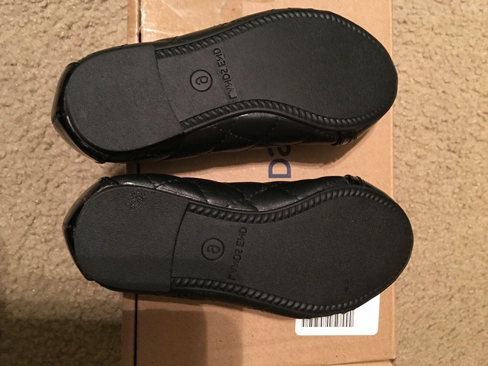 LANDS'END Little Quilted Ballet Flats Black 9 & new Box