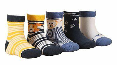 CHUNG Little Boys Girls Toddlers 5 Pack Cotton Crew Socks, B