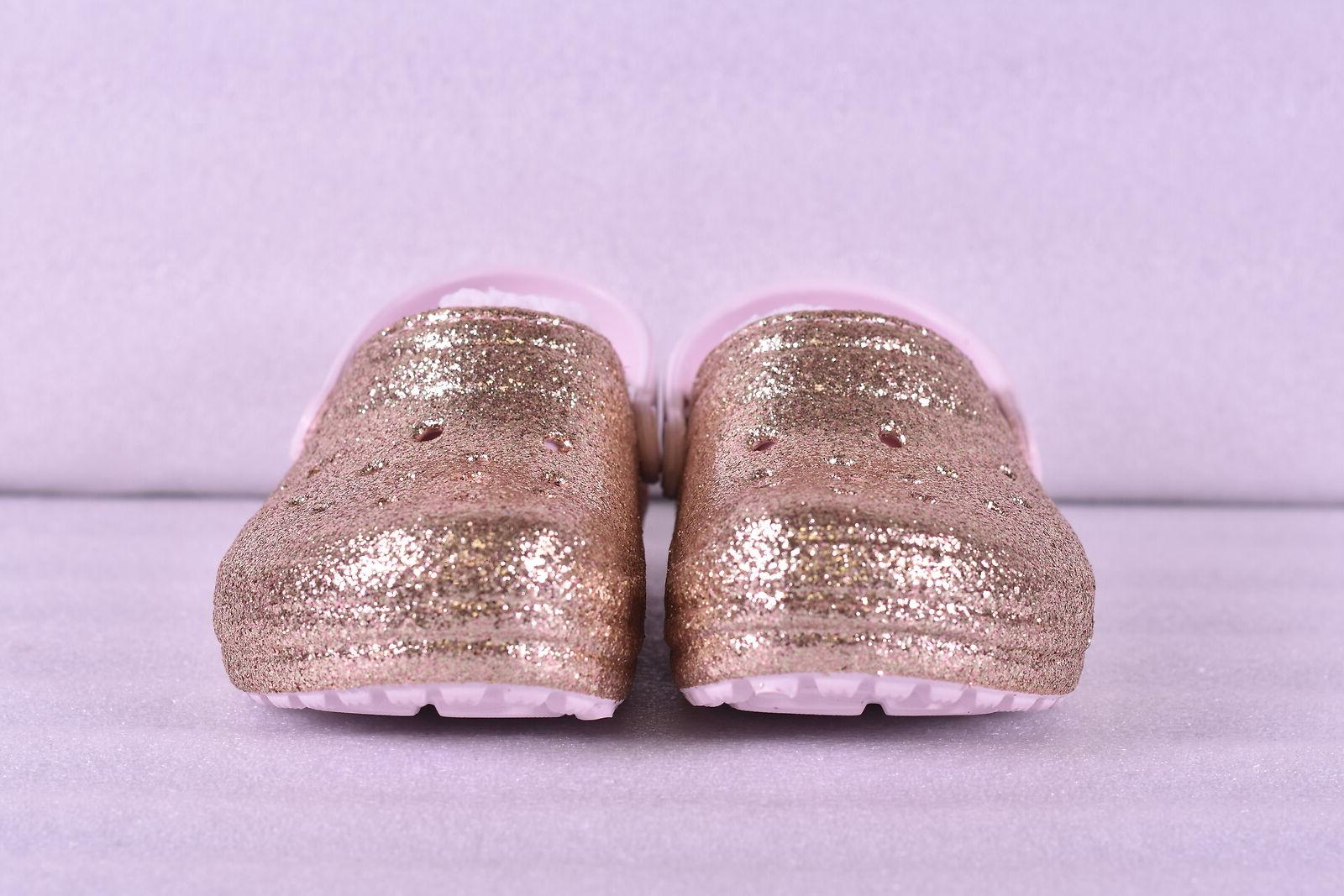 Little GIrl Crocs Glitter Lined Clogs, w/ Lining