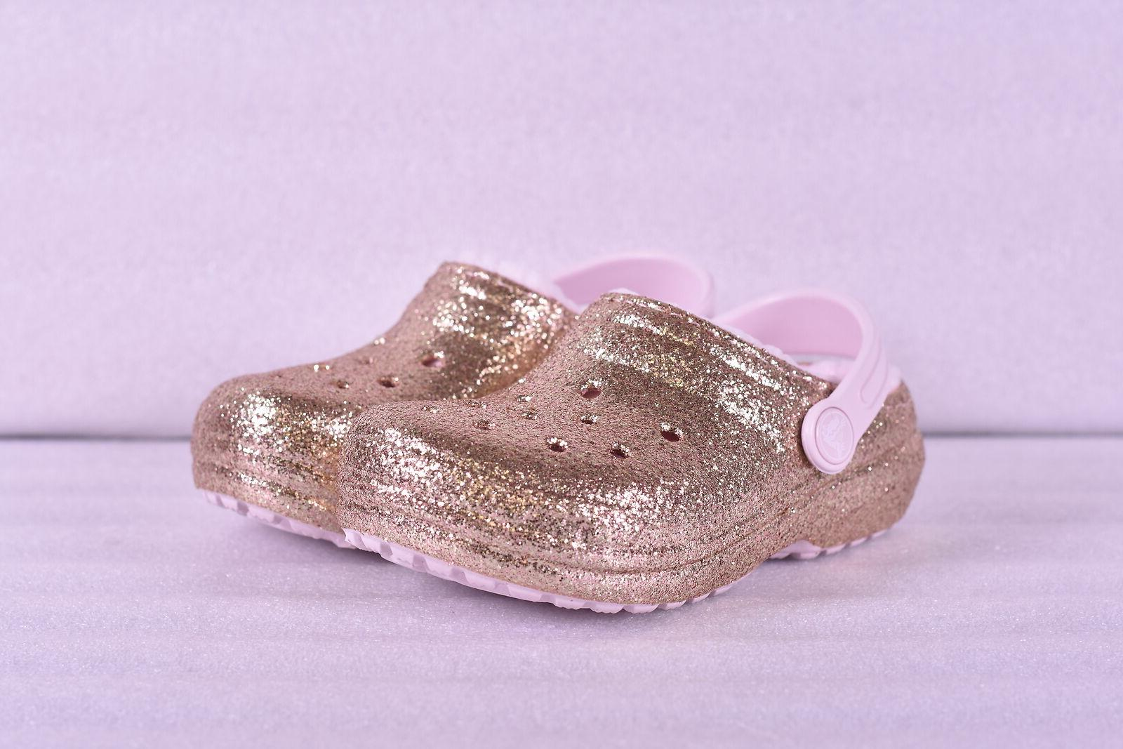 little girl classic glitter lined clogs gold