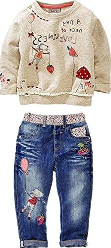 Little Girl's Long Sleeve Cartoon Pullover Shirt and Jeans P
