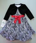 RARE EDITIONS® Little Girls 6X Zebra Print & Velvet Holiday