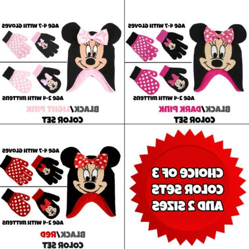 Disney Little Girls Minnie Mouse Hat and 2 Pairs Mittens/Glo