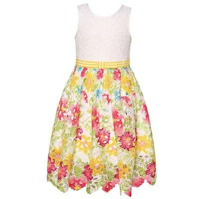 little girls multi floral cut out knee