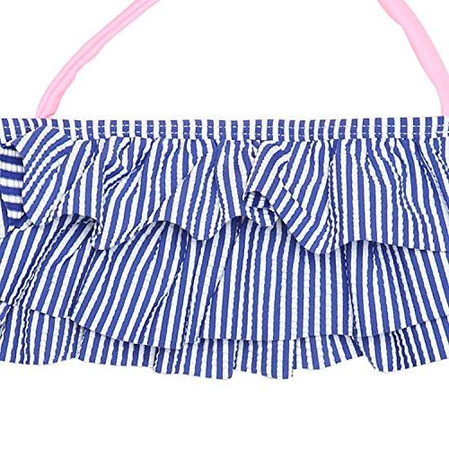 HowJoJo Little Girls Two Piece Striped Ruffle Suit Set