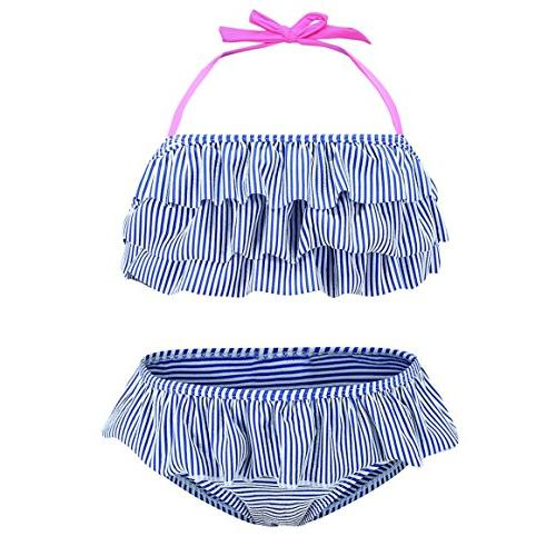 little girls two piece bikini swimsuit striped