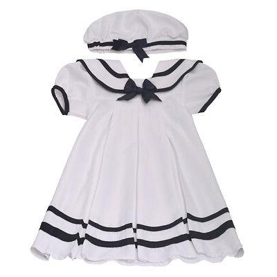 little girls white navy sailor tea length