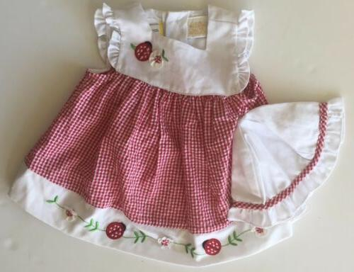 NEW Little Bitty Baby Girls Dress Size 6-9 Months Red Seer S