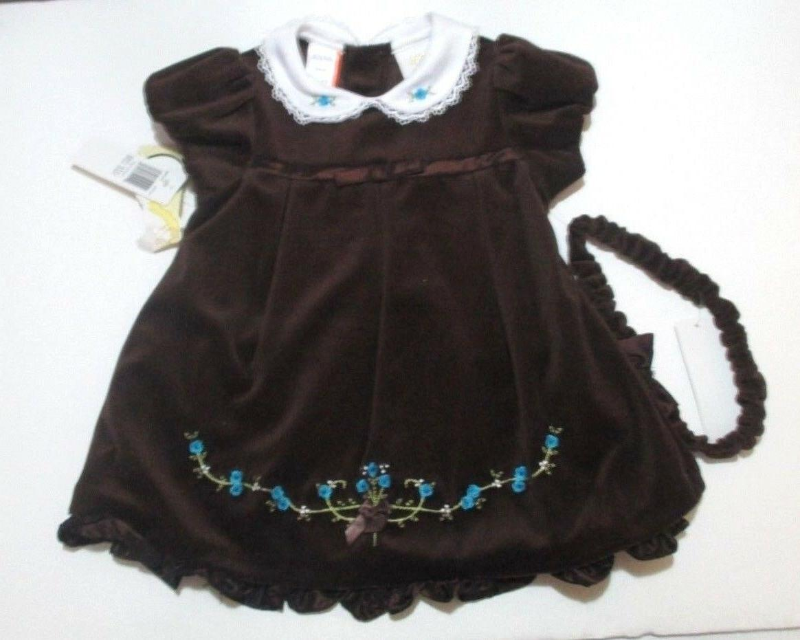 new girls brown velveteen embroidered dress