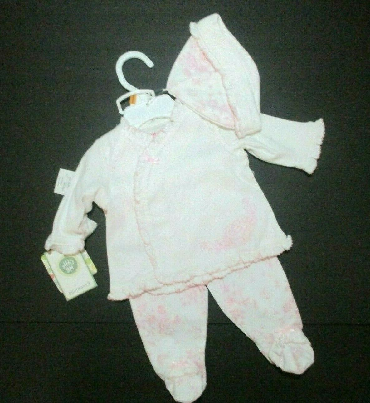 new nwt infant girls pink floral toile