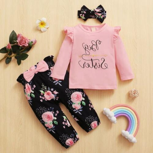 Newborn Girl Matching Clothes Big/Little Sister Romper Pants Outfit
