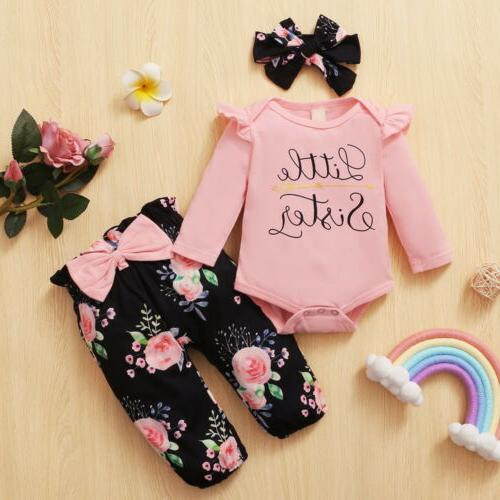 Newborn Baby Clothes Big/Little Sister Tops Romper Outfit