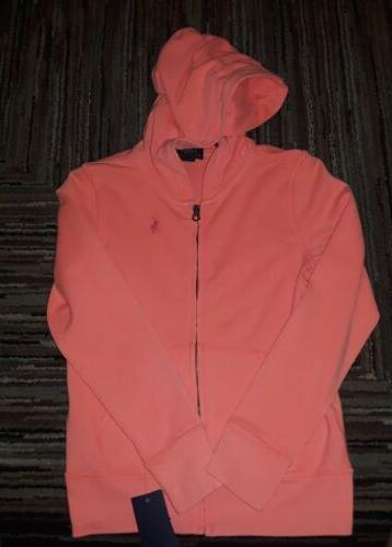 NWT POLO RALPH LAUREN GIRLS ORANGE LITTLE PONY ZIP UP HOODIE