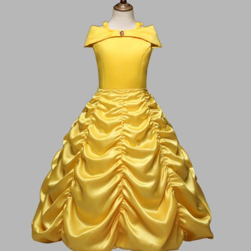 princess belle yellow off shoulder layered costume