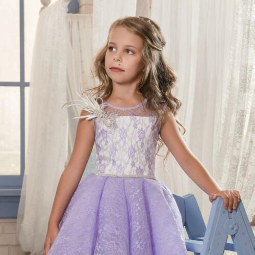 Purple Girls Gowns Beaded Girls Gowns