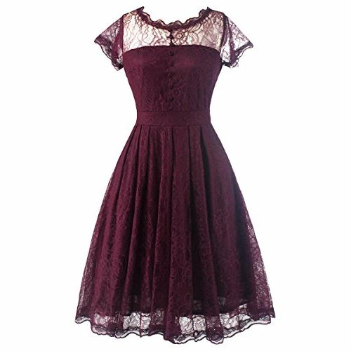Samtree for Women, Vintage Cap Sleeve Floral Cocktail Party A-line