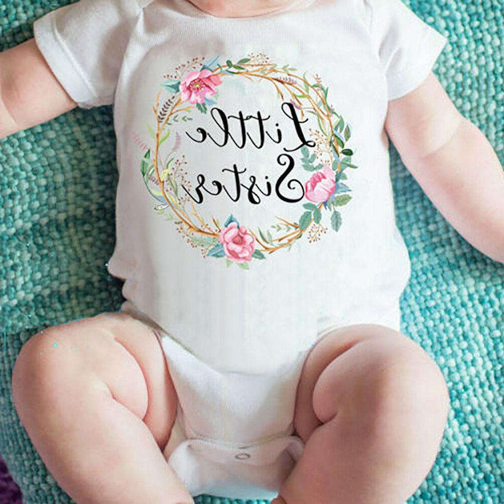 TH_ Baby Kids Girl Little Big Sister Clothes Romper Outfits Shirt
