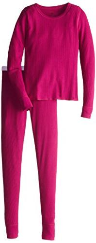 Hanes Big Girls' Thermal Underwear Set, Hot Pink, Large/10-1