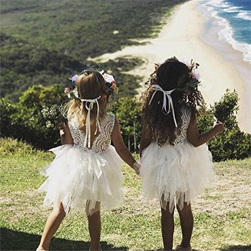 Toddler Baby Flower Girls Backless Tutu A-line Party Dresses Purple