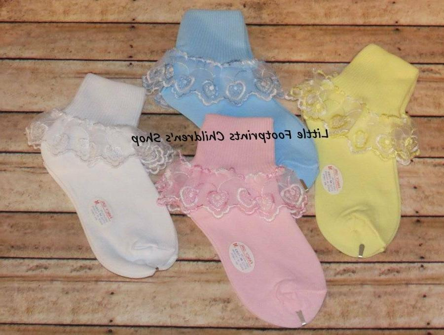 Toddler Little Girl Heart Lace Socks Pink White Blue Yellow