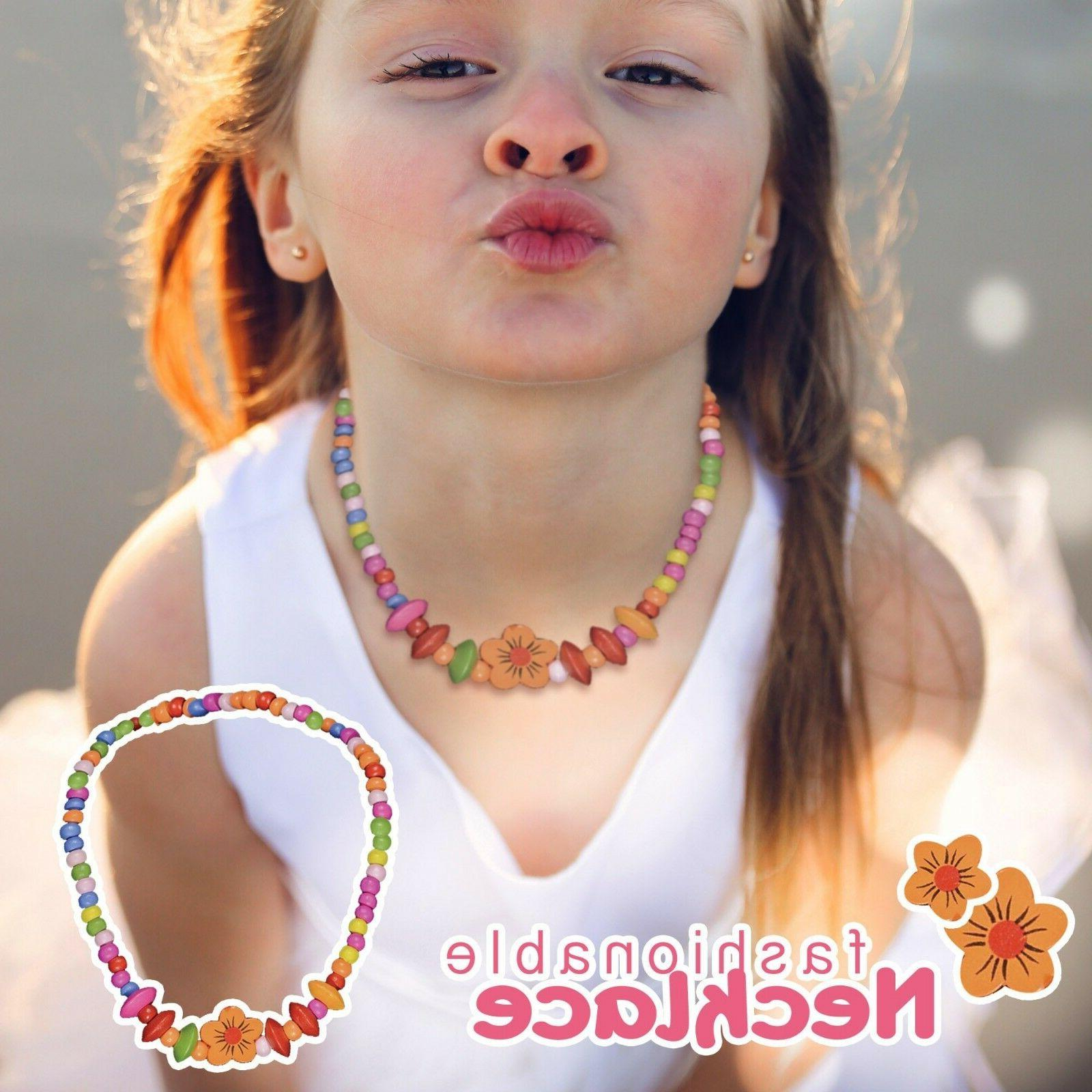 Toddler Play Jewelry Stretch Necklace, Bracelet Set for Little Girls
