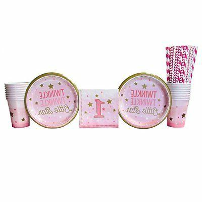 Twinkle 1St Birthday Girl Supplies Pack WHITE Gold