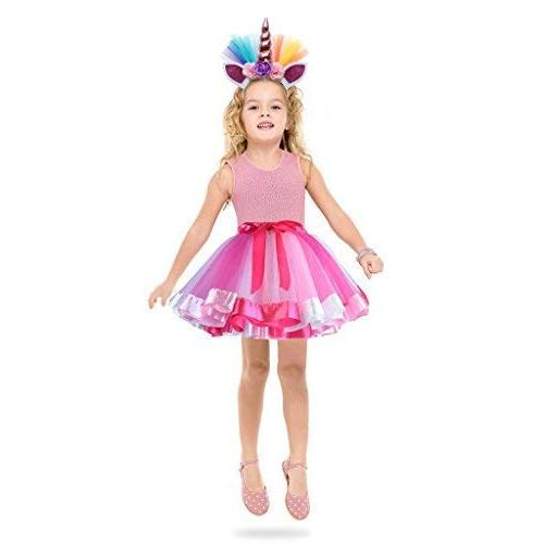 Unicorn Skirt Unicorn Headband Outfit for Girls 3T,4T,5T,6T,7T Party Costumes Set