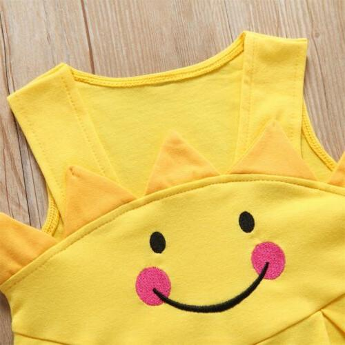 US Baby Kids Cartoon Little Sun Sleeveless Summer