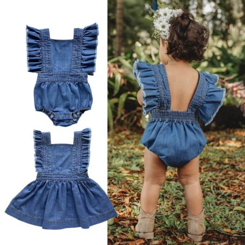 Denim Infant Kid Sister Baby Girl Dress Romper Jumpsuit Play