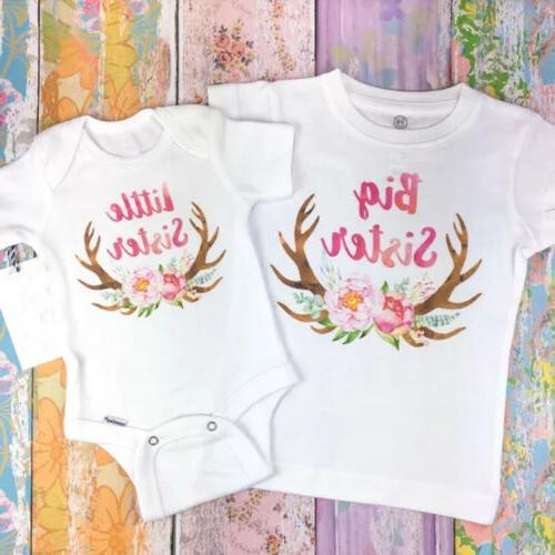 US Girls Matching Big Little Romper shirt Outfits Clothes