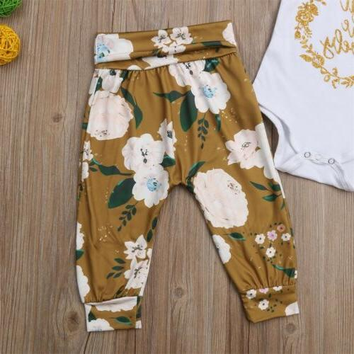US Baby Little Tops Romper Flower Pants Clothes