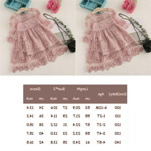 US Summer Kids Toddler Baby Girls Lace Bell Sleeve