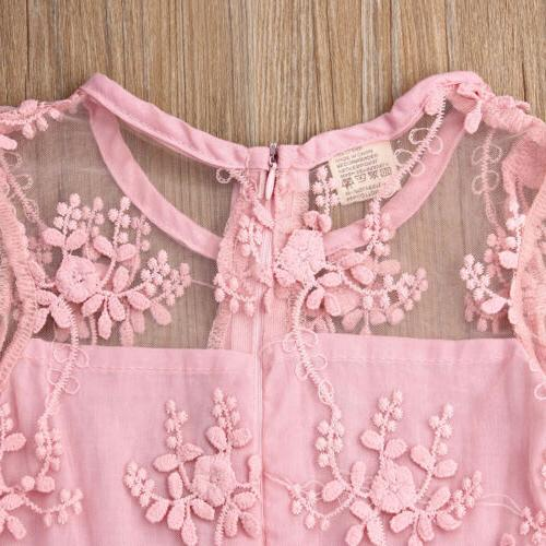 US Kids Girls Lace A-line Sleeve