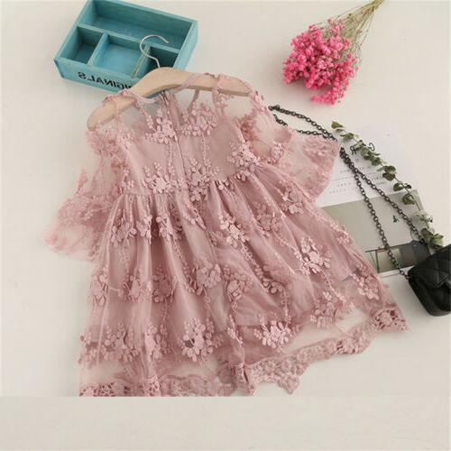 US Kids Toddler Lace A-line Dress Sleeve