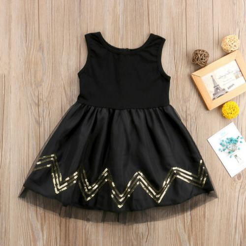USA Girls Black Dress Kids Baby Party Pageant Lace Dresses