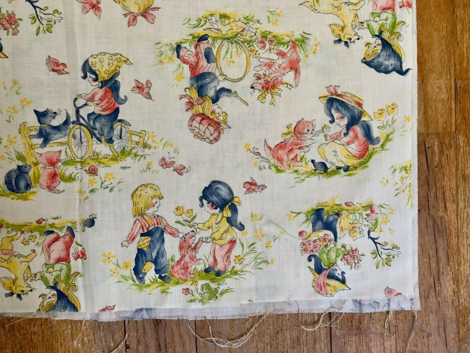 Vintage Fabric Little Playing Cotton large remnants