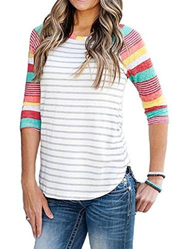 womens striped crew neck 3 4 sleeve
