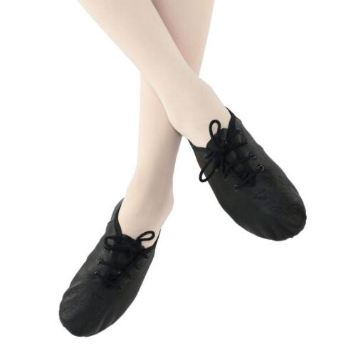 """Danzcue Youth Girls Leather Lace up """"Jazzsoft"""" Jazz Shoes"""
