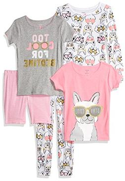 Carter's Girls' Little 5-Piece Cotton Snug-Fit Pajamas, Dog