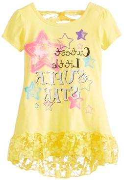 Young Hearts Little Girls' Cute Little Superstar Tee, Yellow