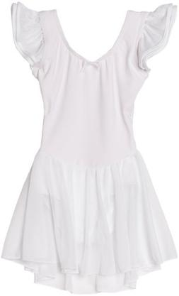 Capezio Little Girls' Flutter Sleeve Dress Leotard, White, S