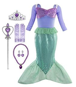 Padete Little Girl Mermaid Princess Costume Sequins Party Dr