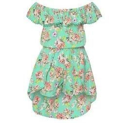 Real Love Little Girls Aqua Floral Ruffle Trim Off-Shoulder
