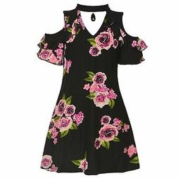 Little Girls Black Pink Rose Print Cut-Out Collar Cold-Shoul