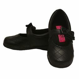 Rachel Shoes Little Girls Black Quilted Stitch Bow Mary Jane