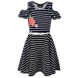 Little Girls Black White Stripe Rose Detail Cold-Shoulder Be