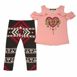 Little Girls Blush Pink Cold Shoulder 2 Pc Pants Outfit 2T